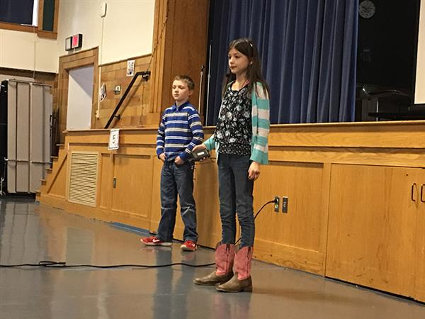 Students speak at assembly on the Wildcat Ways