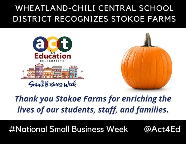 Wheatland-Chili Recognizes Stokoe Farms for Small Business Week