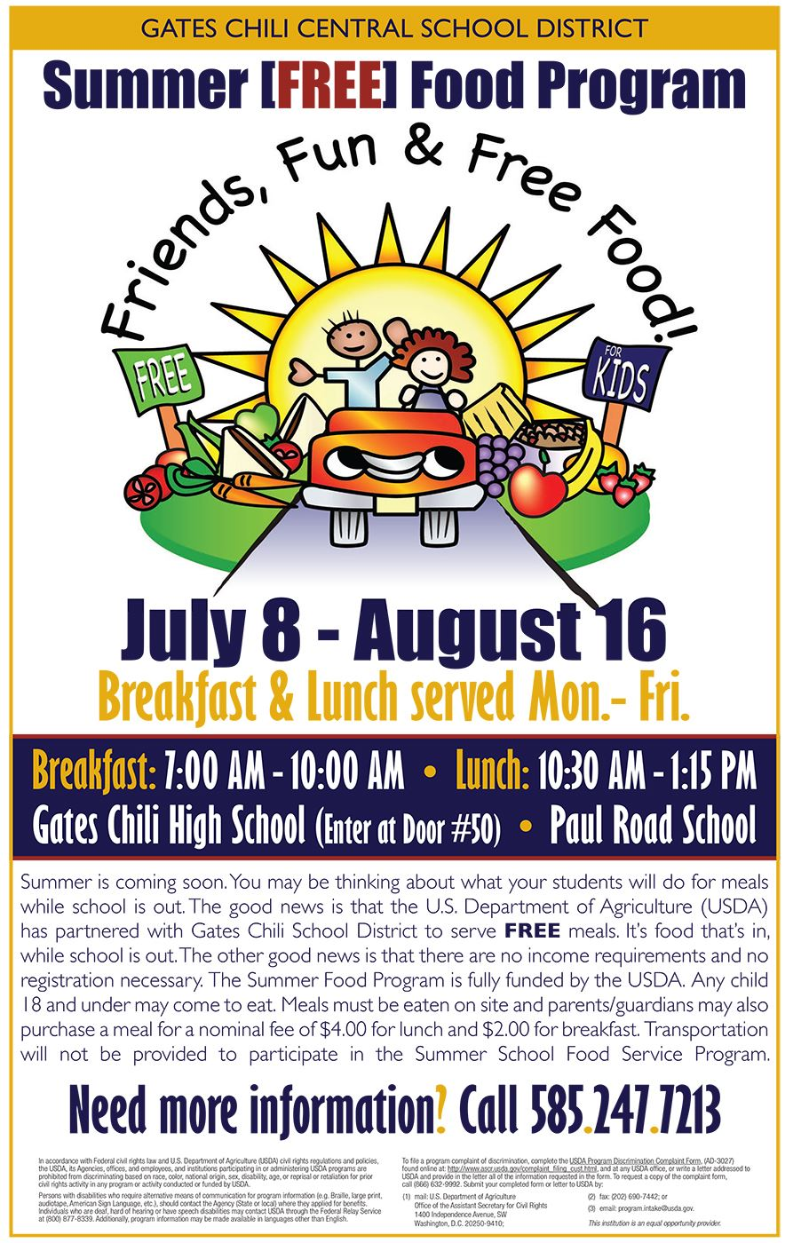 USDA Free Summer Food Program Flyer