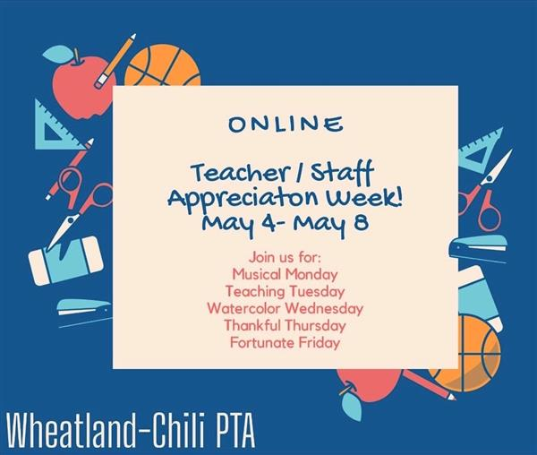WCPTA list of events for Teacher Appreciation Week